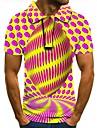 Pánské Golfová košile Tenisové tričko 3D tisk Geometrický Grafické tisky Tlačítko dolů Krátký rukáv ulice Topy Na běžné nošení Módní Chladný Žlutá / Sport