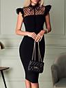 여성용 시스 드레스 무릎 길이 드레스 블랙 민소매 도트 주름장식 패치 워크 봄 여름 라운드 넥 우아함 캐쥬얼 2021 S M L XL