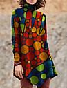 Női A vonalú ruha Rövid mini ruha Rubin Hosszú ujj Mértani Nyomtatott Ősz Körgallér Alkalmi 2021 S M L XL XXL 3 XL