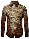 Men\'s Shirt 3D Print Map 3D Print Button-Down Long Sleeve Street Tops Casual Fashion Breathable Comfortable Brown