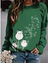 여성용 솔리드 스웨트 셔츠 캐주얼 민들레 고양이 프린트 블라우스 크루넥 긴 소매 그린