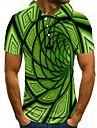 Men\'s Golf Shirt Tennis Shirt 3D Print Optical Illusion Geometry Button-Down Short Sleeve Street Tops Casual Fashion Cool Green / Sports