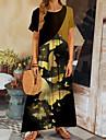 여성용 시프트 드레스 맥시 드레스 옐로우 짧은 소매 버터플라이 동물 프린트 가을 여름 라운드 넥 캐쥬얼 2021 S M L XL XXL 3XL