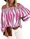 여성용 데이트 블라우스 농민 블라우스 줄무늬 긴 소매 주름장식 프린트 오프 숄더 탑스 퍼프 푸른 옐로우 블러슁 핑크 / 클럽
