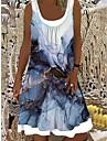 Női Váltó ruha Térdig érő ruha Medence Ujjatlan Nyomtatott hamis két darab Nyomtatott Tavasz Nyár Csónaknyak Elegáns Alkalmi Szabadság Bő 2021 S M L XL XXL 3XL
