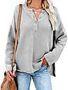 Γυναικεία Πουλόβερ Κλασσικό στυλ Συμπαγές Χρώμα Βασικό Καθημερινό Μακρυμάνικο Κανονικό Πουλόβερ ζακέτες Λαιμόκοψη Υ Φθινόπωρο Άνοιξη Ανθισμένο Ροζ Κόκκινο τούβλο Γκρίζο