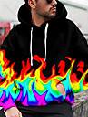Herre Unisex Pullover-hættetrøje Grafiske tryk Flamme Trykt mønster Hætte Daglig Sport 3D-udskrivning 3D-tryk Afslappet Hættetrøjer Sweatshirts Langærmet Sort