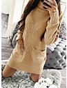 Dámské Úpletové šaty Krátké mini šaty Žlutá Světlá růžová Šedá Dlouhý rukáv Pevná barva Kapsy Pletený Žakár Podzim Zima Rolák Elegantní 2021 M L XL 2XL 3XL