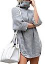 Dámské Svetrové šaty Krátké mini šaty Šedá Námořnická modř Dlouhý rukáv Pevná barva Nabírané šaty Podzim Zima Rolák Na běžné nošení 2021 S M L XL XXL 3XL