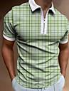 Homens Camisa de golfe Xadrez Ziper Manga Curta Rua Normal Blusas Roupa de Esporte Casual Moda Confortavel Verde / Verao