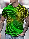 Men\'s Unisex Tee T shirt Shirt 3D Print Optical Illusion 3D Graphic Prints Print Short Sleeve Daily Regular Fit Tops Casual Designer Big and Tall Blue Green Black / Summer