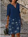 Női Váltó ruha Térdig érő ruha Tengerészkék Féhosszú Pitypang Nyomtatott Tavasz Nyár Y-nyak Alap Alkalmi 2021 S M L XL XXL XXXL