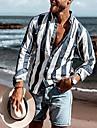Męskie Koszula Prążki Przycisk w dół Nadruk Długi rękaw Dom Najfatalniejszy Codzienny Moda Wygodny Granatowy Jasnoniebieski