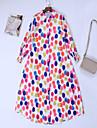 여성용 셔츠 드레스 맥시 드레스 레인보우 긴 소매 프린트 프린트 가을 셔츠 카라 우아함 랜턴 슬리브 2021 S M L XL