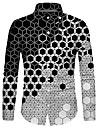 Men\'s Shirt 3D Print Geometry 3D Print Button-Down Long Sleeve Street Tops Casual Fashion Breathable Comfortable Black
