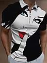 Pánské Golfová košile Portrét Zip Krátký rukáv ulice Topy Sportovní oblečení Na běžné nošení Módní Pohodlné Černá
