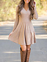 Dámské Svetrové šaty Krátké mini šaty Černá Béžová Dlouhý rukáv Pevná barva Žakár Podzim Do V Na běžné nošení 2021 S M L XL XXL