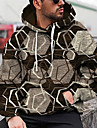 Miesten Sukupuolineutraali Pullover-huppari Geometrinen Graafiset tulosteet Painettu Hupullinen Päivittäin Urheilu 3D-tulostus 3D-kuvio Vapaa-aika Hupparit paidat Pitkähihainen Ruskea