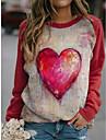 여성용 맨투맨 스웻티셔츠 풀오버 심장 3D 그래픽 프린트 3D 프린트 크루넥 캐쥬얼 일상 3D 인쇄 캐쥬얼 스트리트 쉬크 후드 스웨트 셔츠 루비