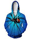 Herre Hættetrøje med lynlås med lynlås Dyr 3D Hætte Afslappet Daglig 3D-udskrivning Afslappet Hættetrøjer Sweatshirts Langærmet Løstsiddende Blå