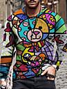 Pánské Trička Tričko Košile 3D tisk Grafika Barevné bloky Zvíře Větší velikosti Tisk Dlouhý rukáv Ležérní Topy Základní Designové Úzký střih Velký a vysoký Vodní modrá Světlá růžová Námořnická modř