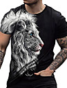 Men\'s Unisex Tee T shirt Shirt 3D Print Graphic Prints Lion Print Short Sleeve Daily Tops Casual Designer Big and Tall Blue Black Brown / Summer