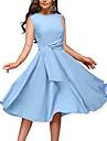 여성용 A 라인 드레스 무릎 길이 드레스 푸른 민소매 한 색상 주름 잡힌 여름 라운드 넥 작업 / 오피스 우아함 빈티지 2021 S M L XL / 파티 드레스