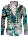 Men\'s Shirt 3D Print Feather 3D Print Button-Down Long Sleeve Street Tops Casual Fashion Breathable Comfortable Blue / Sports / Boho