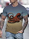 Hombre Unisexo Tee Camiseta Camisa Impresion 3D Estampados Pulpo Estampado Manga Corta Diario Tops Casual De Diseno Grande y alto Azul Piscina