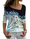 여성용 꽃 테마 페인팅 T 셔츠 플로럴 그래픽 긴 소매 프린트 V 넥 베이직 탑스 푸른
