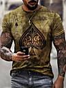Herren Unisex Tee T-Shirt Hemd 3D-Druck Grafik-Drucke Poker Druck Kurzarm Alltag Oberteile Freizeit Designer Gross und hoch Gelb
