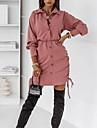 여성용 시프트 드레스 미니 드레스 블러슁 핑크 클로버 루비 긴 소매 한 색상 주름 잡힌 가을 셔츠 카라 캐쥬얼 2021 S M L XL XXL