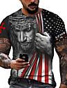 Men\'s Unisex Tee T shirt Shirt 3D Print Graphic Prints Flag Print Short Sleeve Daily Tops Casual Designer Big and Tall Blue Black Red