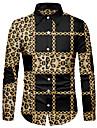 男性用 シャツ 3Dプリント レオパード チェーンプリント 3Dプリント ボタンダウン 長袖 ストリート トップの カジュアル ファッション 高通気性 快適 ブラウン / スポーツ
