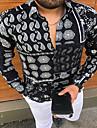 בגדי ריקוד גברים חולצה קולור בלוק מופשט כפתור למטה דפוס שרוול ארוך בית צמרות יום יומי אופנתי נוח שחור