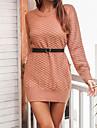 Dámské Svetrové šaty Krátké mini šaty Světlá růžová Šedá Khaki Dlouhý rukáv Pevná barva Žakár Podzim Kulatý Na běžné nošení 2021 S M L
