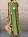 Női Váltó ruha Maxi hosszú ruha Szürke Lóhere Ujjatlan Virágos Nyomtatott Nyár Kerek meleg Alkalmi Szabadság Bő 2021 M L XL XXL 3XL 4XL 5XL / Extra méret / Pamut / Extra méret / Pamut