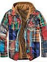 رجالي جاكيت مناسب للبس اليومي الخريف الشتاء عادية معطف عادي الدفء رياضي جاكتس كم طويل هندسي منقش أزرق أصفر سكني فاتح