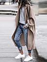 γυναικείο παλτό δρόμος καθημερινή ημερομηνία φθινόπωρο χειμώνας μακρύ παλτό κανονική εφαρμογή ζεστό αναπνέει κομψό μοντέρνο σακάκι μακρύ μανίκι μονόχρωμο καπιτονέ τσέπη μπλε γκρι χακί βγαίνοντας έξω