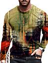 Pánské Unisex Trička Tričko Košile 3D tisk Abstraktní Grafické tisky Tisk Dlouhý rukáv Denní Topy Na běžné nošení Designové Velký a vysoký Žlutá