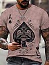 Herren Tee T-Shirt Hemd 3D-Druck Grafik Poker UEbergroessen Kurzarm Normal Oberteile Grundlegend Designer Schmaler Schnitt Gross und hoch Blau Rosa Schwarz