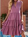 여성용 A 라인 드레스 무릎 길이 드레스 옐로우 블러슁 핑크 민소매 한 색상 주름 잡힌 레이스 봄 여름 V 넥 활동적 캐쥬얼 루즈핏 2021 S M L XL XXL