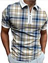 Pánské Golfová košile Pléd Zip Krátký rukáv ulice Běžný Topy Na běžné nošení Módní Prodyšné Pohodlné Vodní modrá