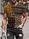 Herren T-Shirt Hemd Andere Drucke Stammes Grafik-Drucke Totem Druck Kurzarm Strasse Oberteile Grundlegend Freizeit Rundhalsausschnitt A B C / Sommer