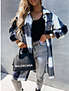 여성용 코트 캐쥬얼 일상 가을 겨울 보통 코트 셔츠 카라 스탠다드 핏 웜 캐쥬얼 자켓 긴 소매 격자무늬 / 체크 모던 스타일 블랙엔화이트 / 면
