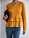 여성용 블라우스 페플럼 셔츠 플레인 긴 소매 멀티 레이어 주름장식 라운드 넥 캐쥬얼 스트리트 쉬크 탑스 오렌지