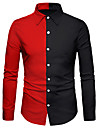 Men\'s Shirt 3D Print Color Block 3D Print Button-Down Long Sleeve Street Tops Casual Fashion Breathable Comfortable Black / Red / Sports