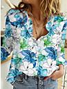 여성용 꽃 테마 블라우스 셔츠 플로럴 그래픽 긴 소매 단추 프린트 셔츠 카라 베이직 탑스 푸른 퍼플 블러슁 핑크