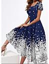 여성용 스윙 드레스 미디 드레스 네이비 블루 짧은 소매 플로럴 프린트 봄 여름 스퀘어 넥 우아함 캐쥬얼 파티 2021 S M L XL XXL