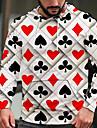 Per uomo Felpa con cappuccio pullover Pop art Carte francesi Casuale Quotidiano Fine settimana Stampa 3D Casuale Felpe con cappuccio Felpe Bianco e nero Rosso bordeaux Verde